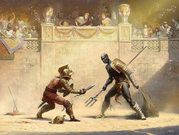 Настоящие гладиаторы и меч из дерева